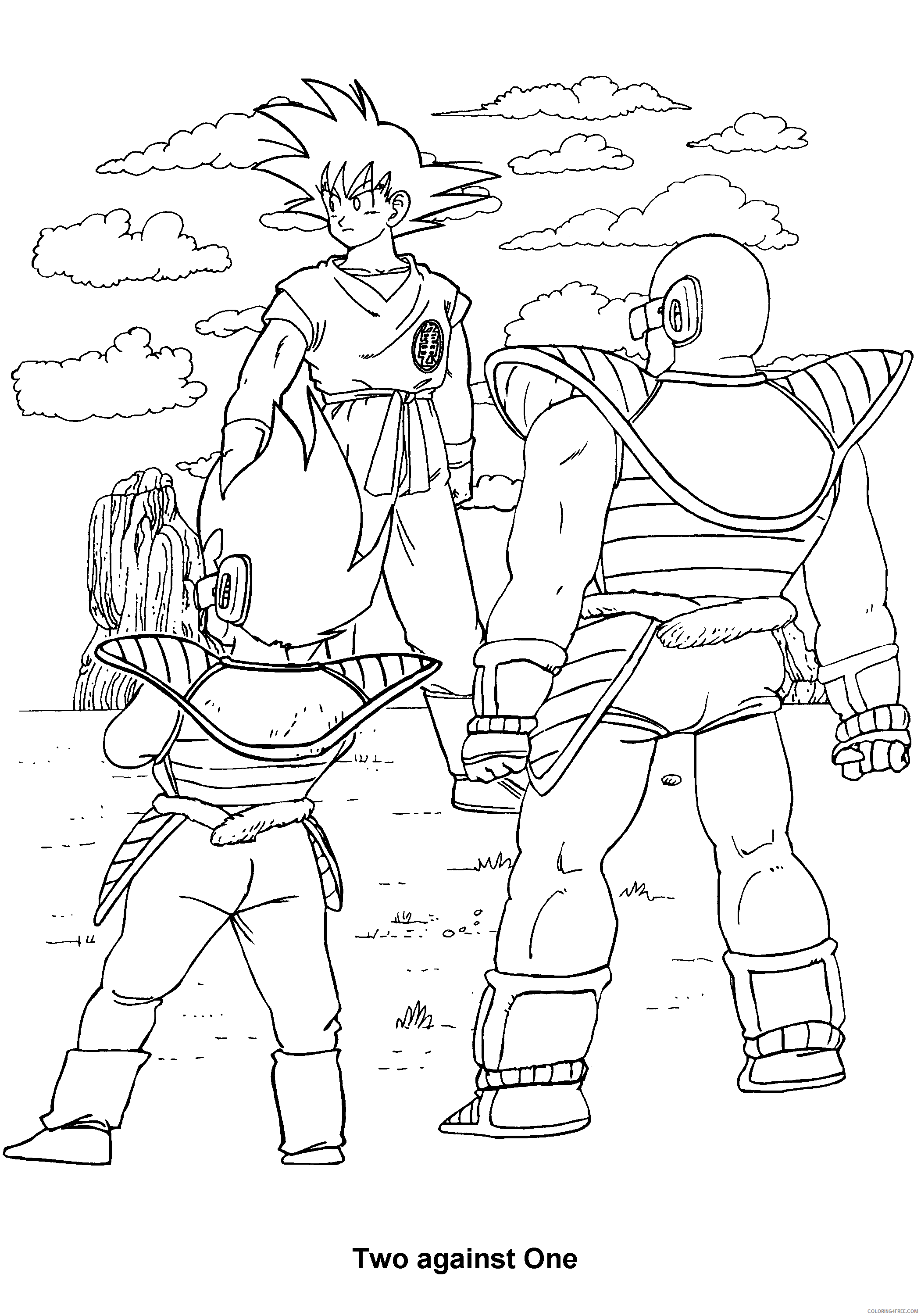 040 dragon ball z two against one Printable Coloring4free