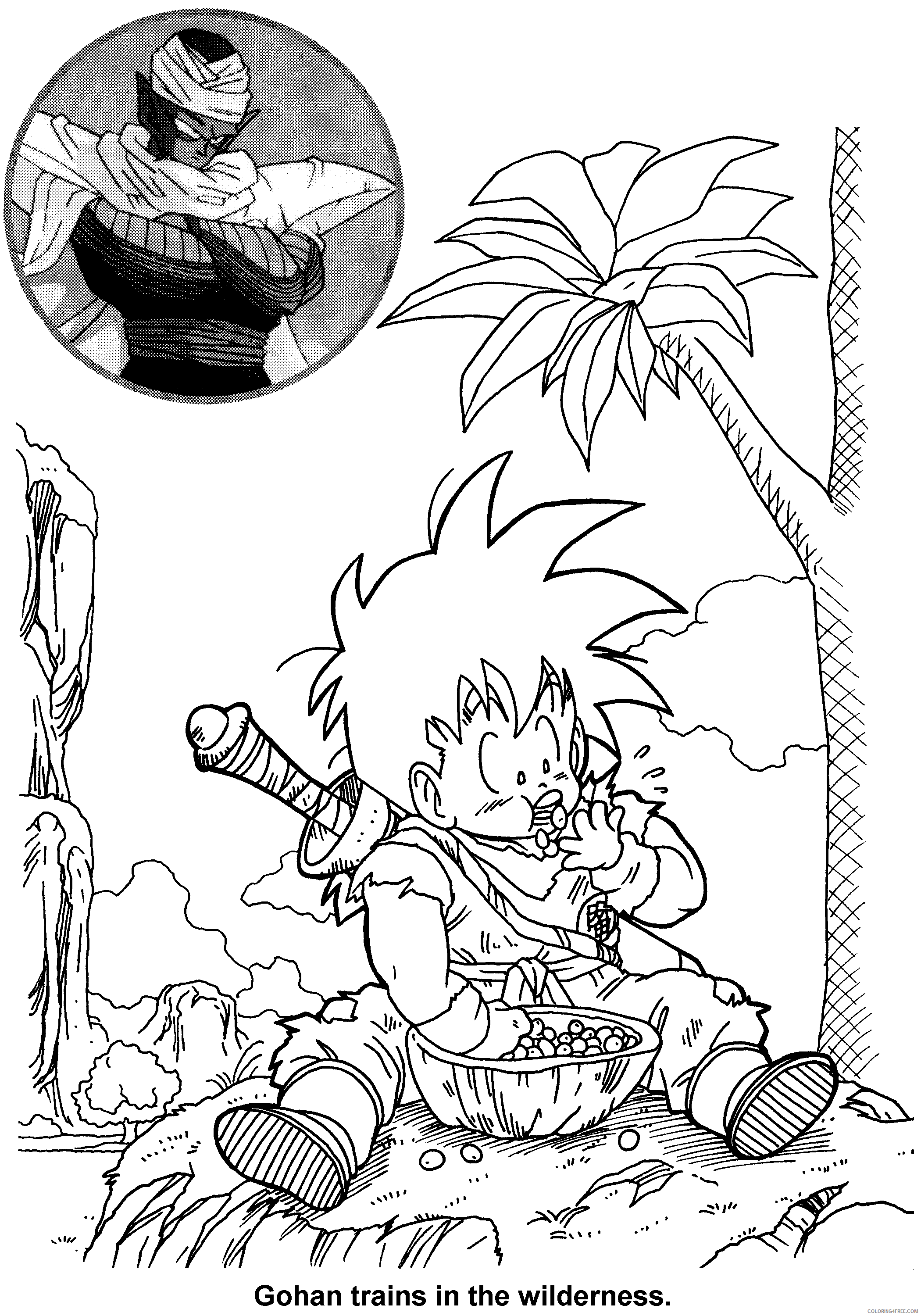 047 dragon ball z goku trains in the wilderness Printable Coloring4free