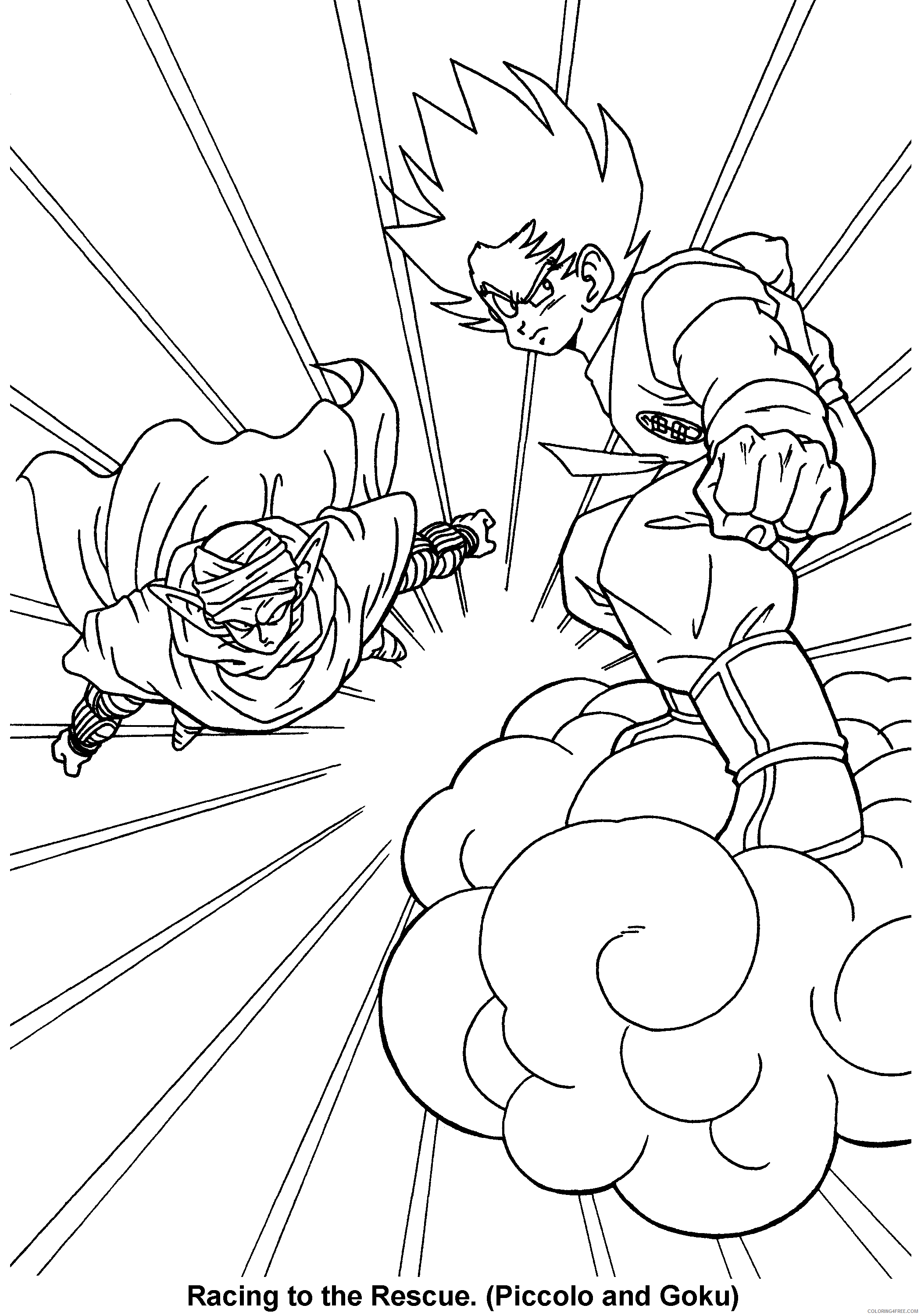 059 dragon ball z racing to the rescue piccolo and goku Printable Coloring4free
