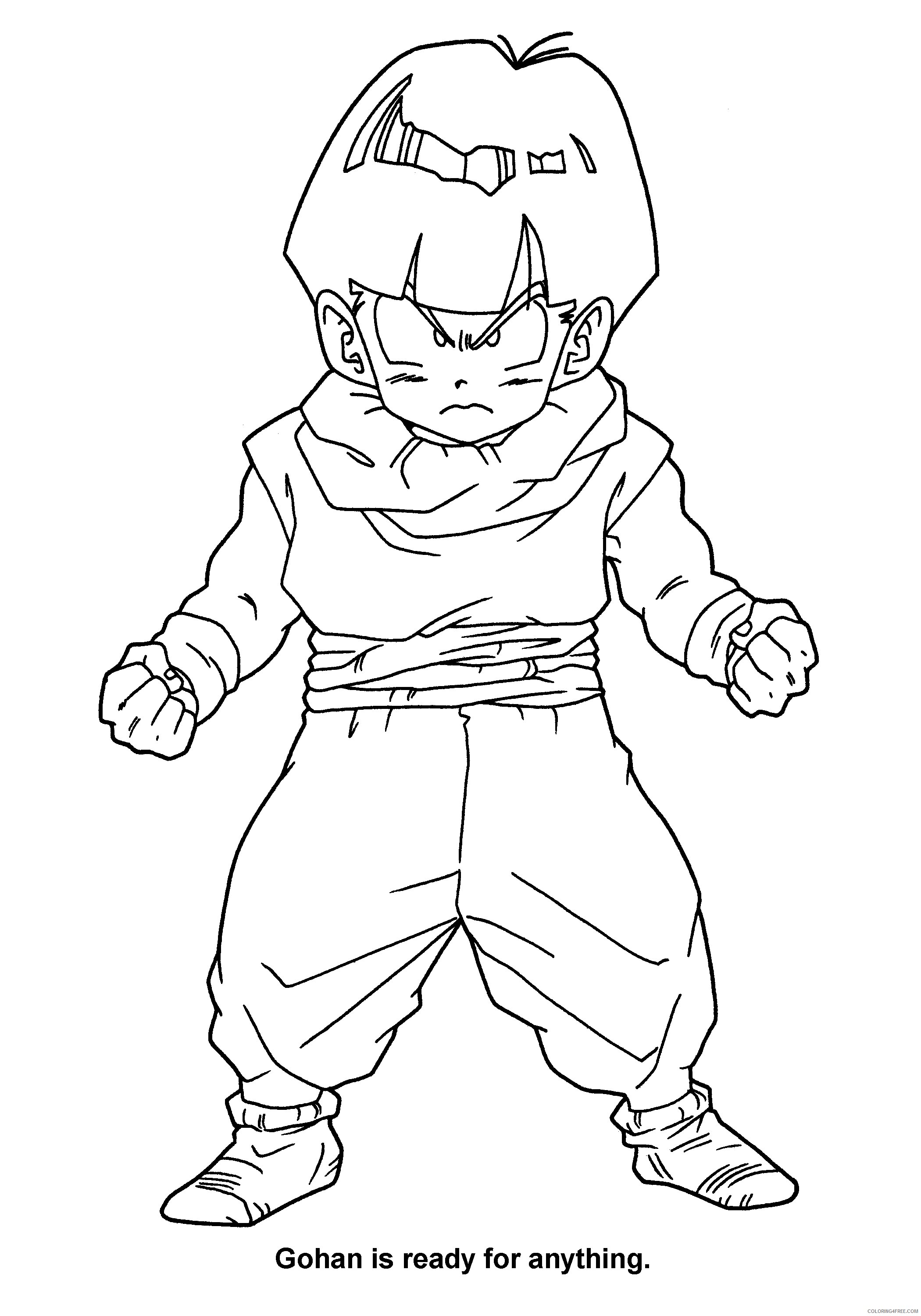 062 dragon ball z gohan is ready for anything Printable Coloring4free