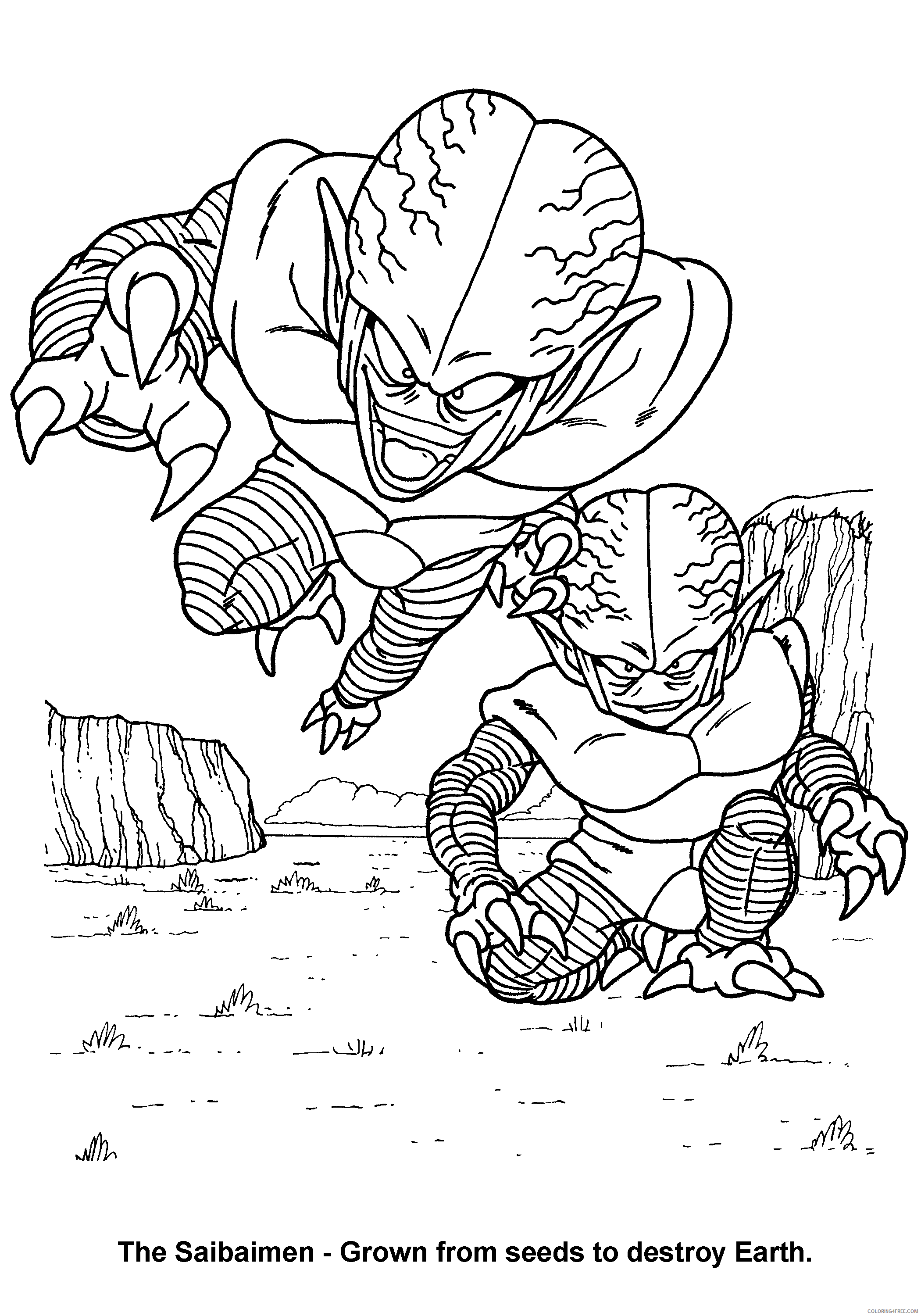063 dragon ball z the saibaimen grown from seeds to destroy earth Printable Coloring4free