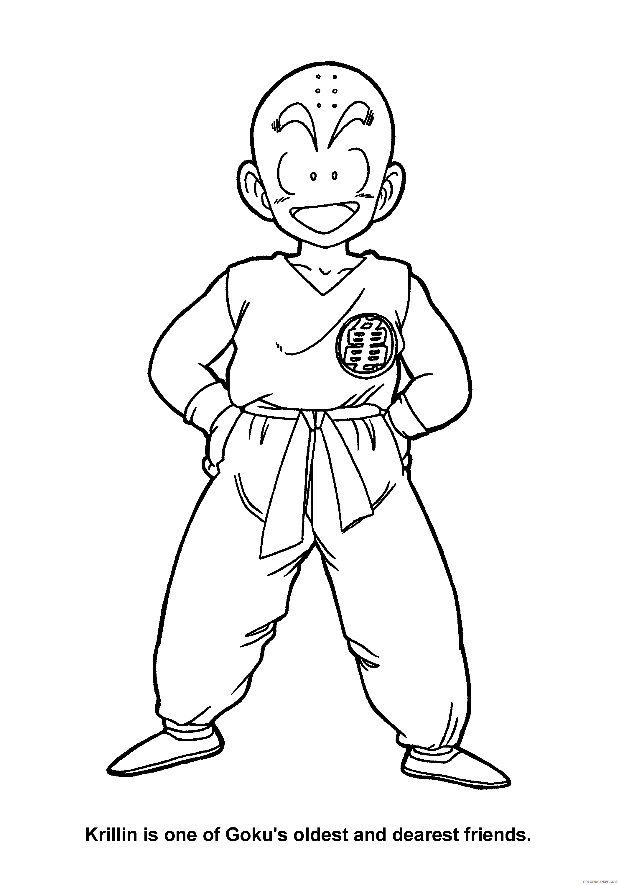 064 dragon ball z krillin is one of gokus oldest and dearest friends Printable Coloring4free