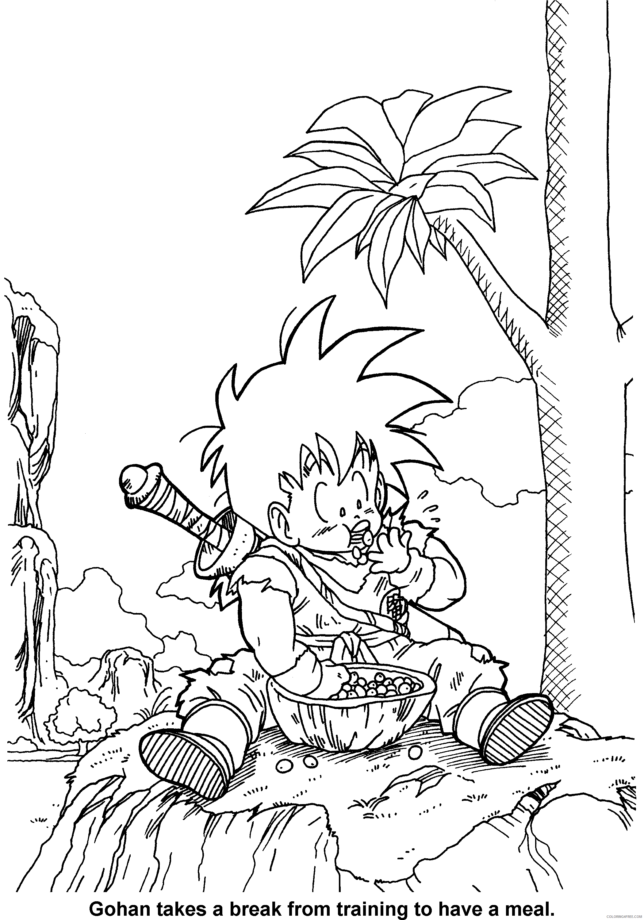 070 dragon ball z gohan takes a break from training to have a meal Printable Coloring4free