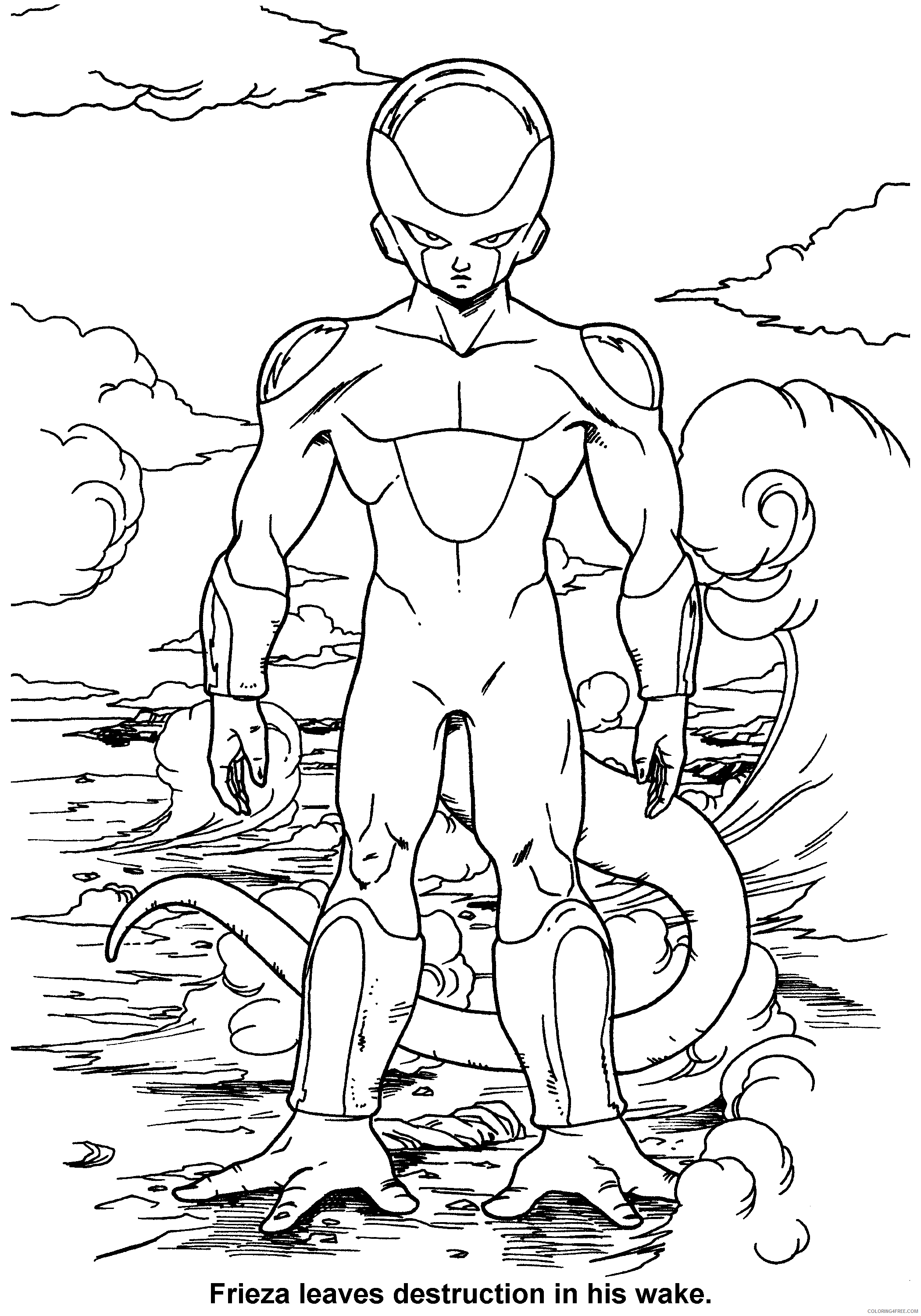 073 dragon ball z frieza leaves destruction in his wake Printable Coloring4free