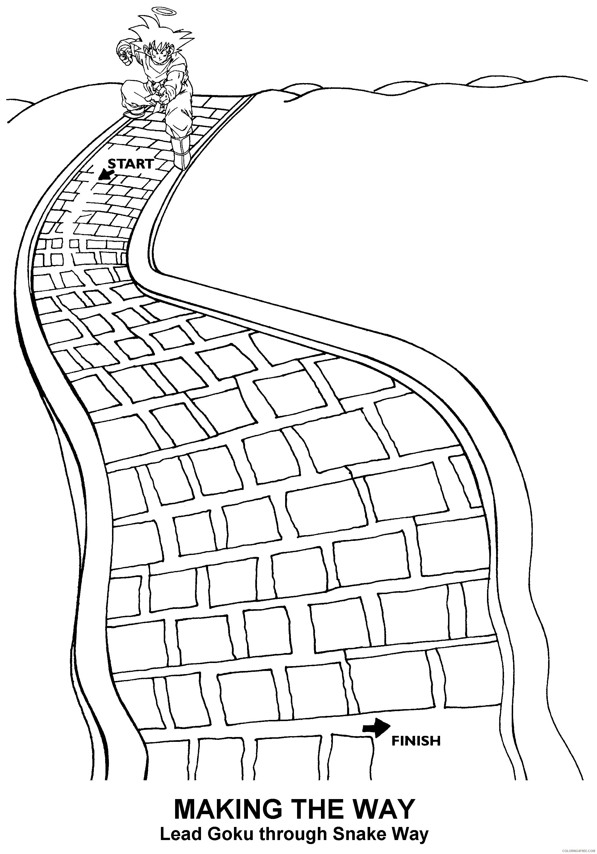 077 dragon ball z lead goku through snake way Printable Coloring4free