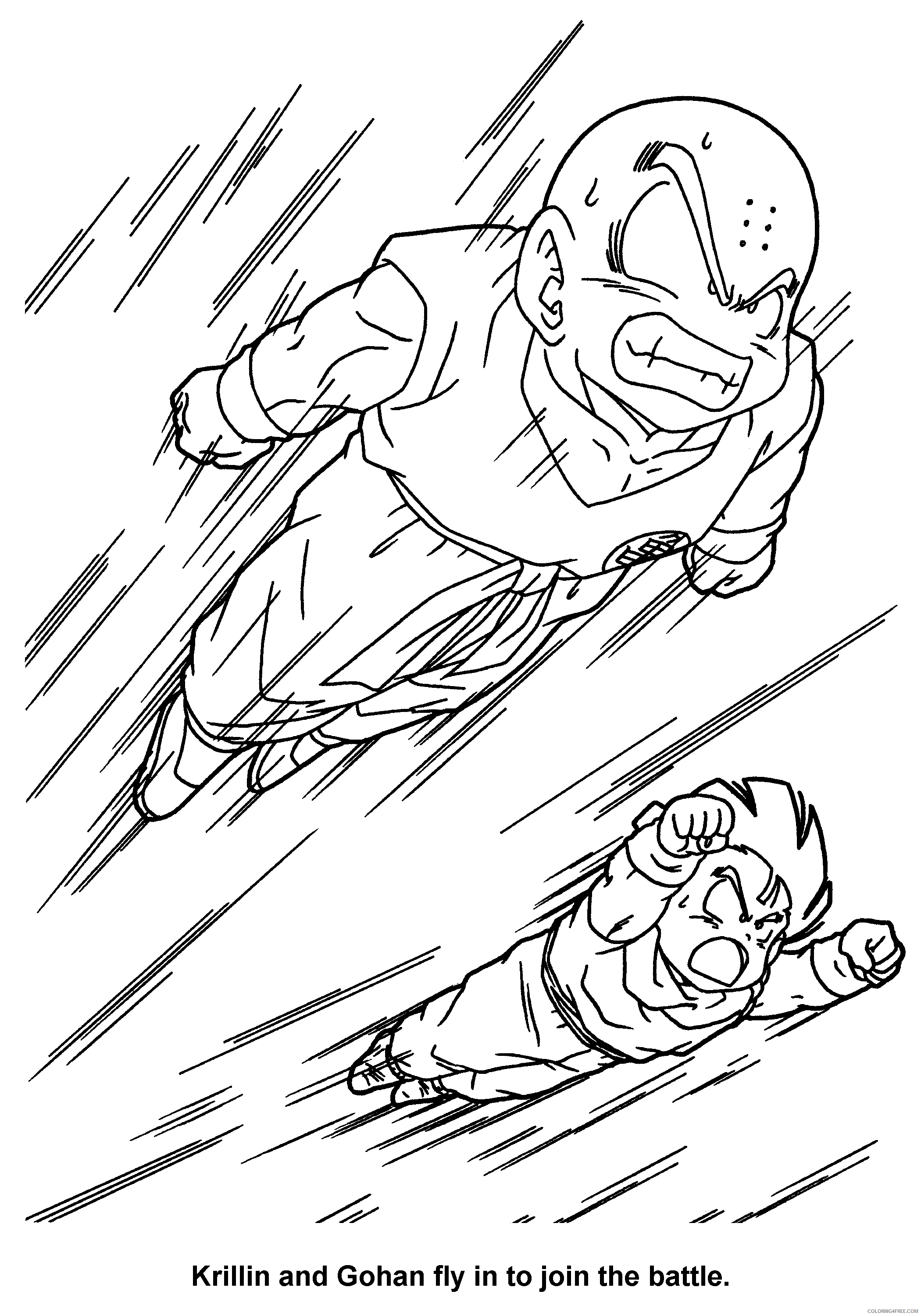 084 dragon ball z krillin and gohan fly to join the battle Printable Coloring4free