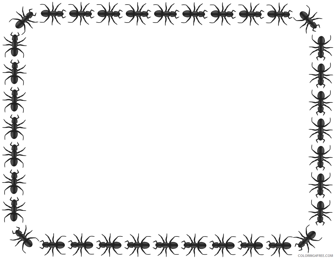 Ant Border Coloring Pages ant border rectangle knqQvM clipart Printable Coloring4free