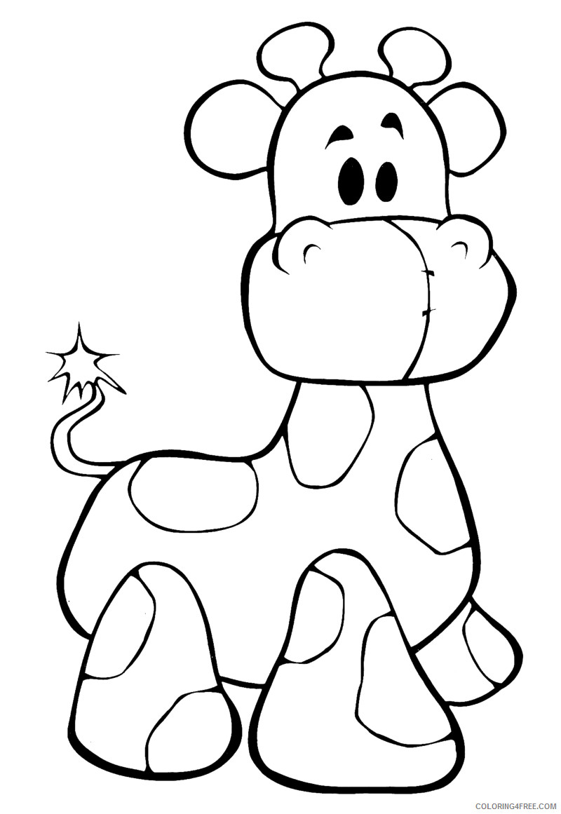 Baby Giraffe Coloring Pages baby giraffe drawings best Printable Coloring4free