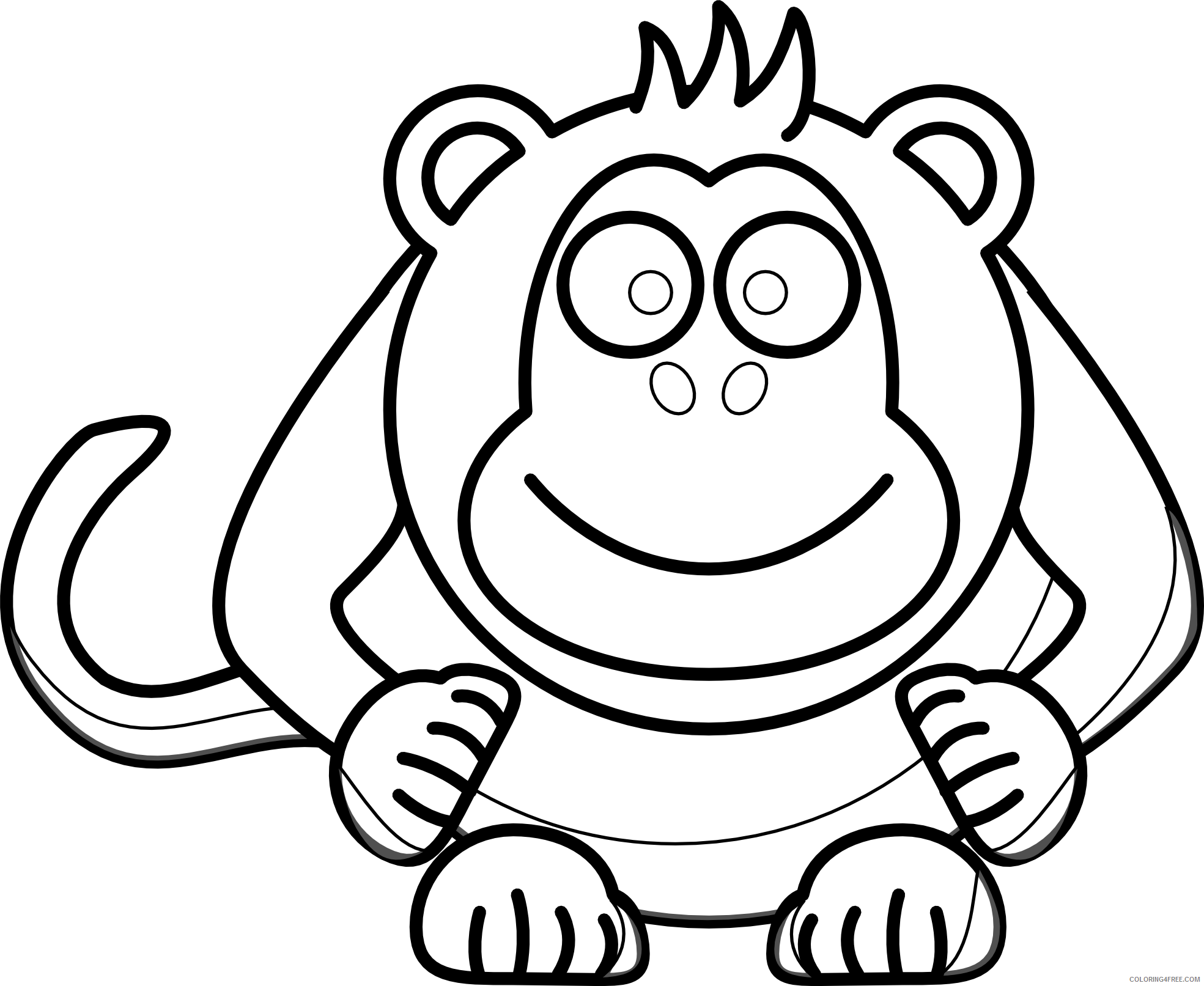 Baby Monkey Coloring Pages baby monkey face clip art Printable Coloring4free