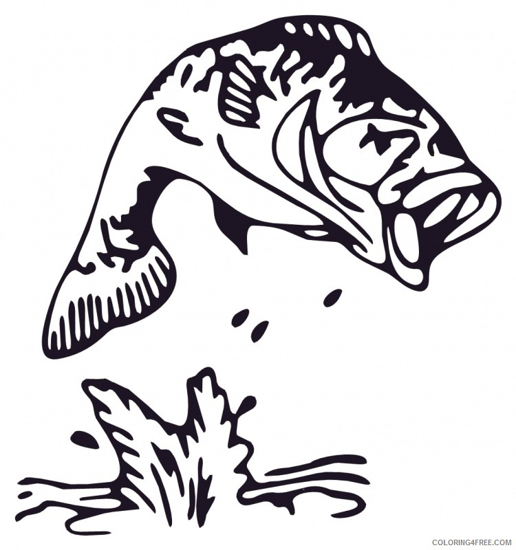 Bass Fish Coloring Pages jumping bass fish clip art Printable Coloring4free