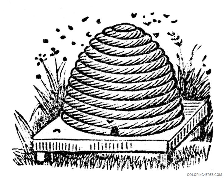 Bee Hive Coloring Pages vintage bee hive 1 Printable Coloring4free