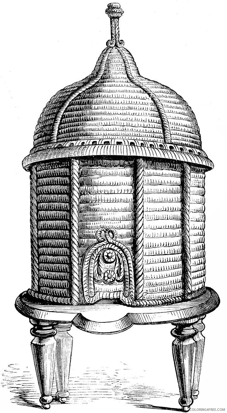 Bee Hive Coloring Pages vintage ornate bee Printable Coloring4free