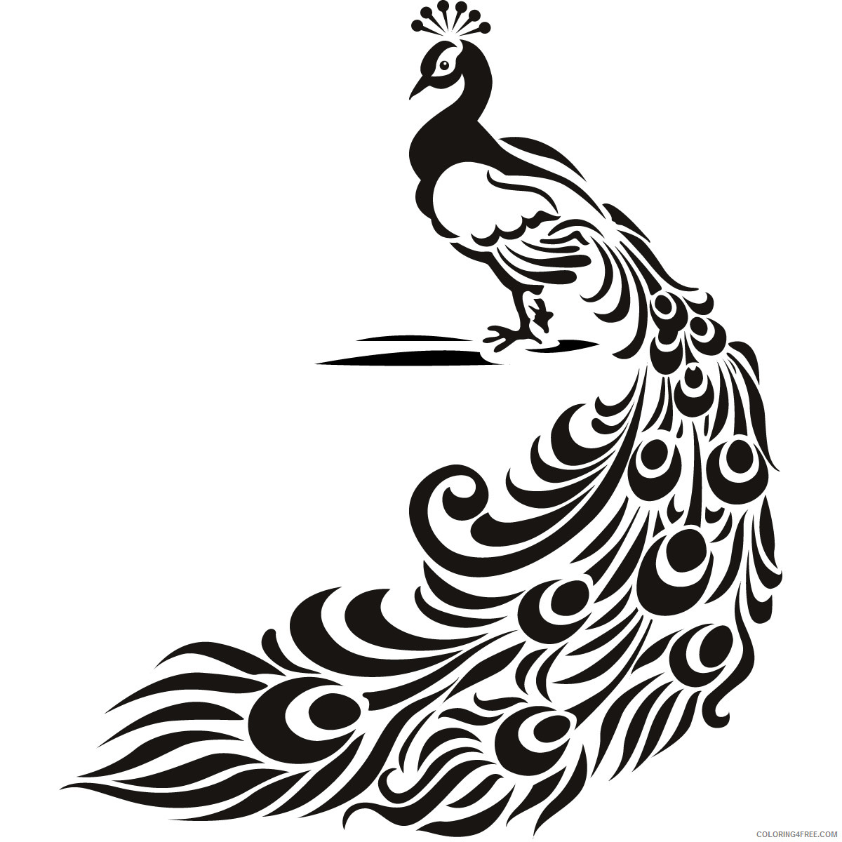 Bird Coloring Pages peacock bird animal wall art Printable Coloring4free
