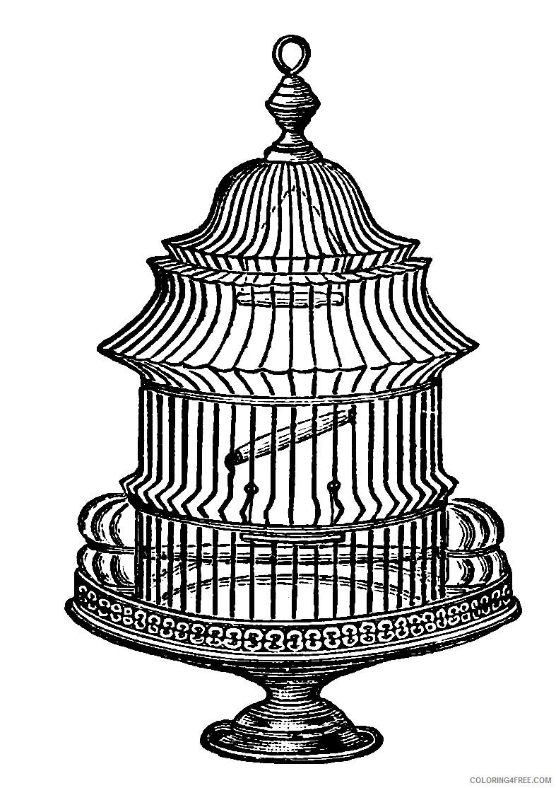 Birdcage Coloring Pages vintage bird cage RUVCeV Printable Coloring4free