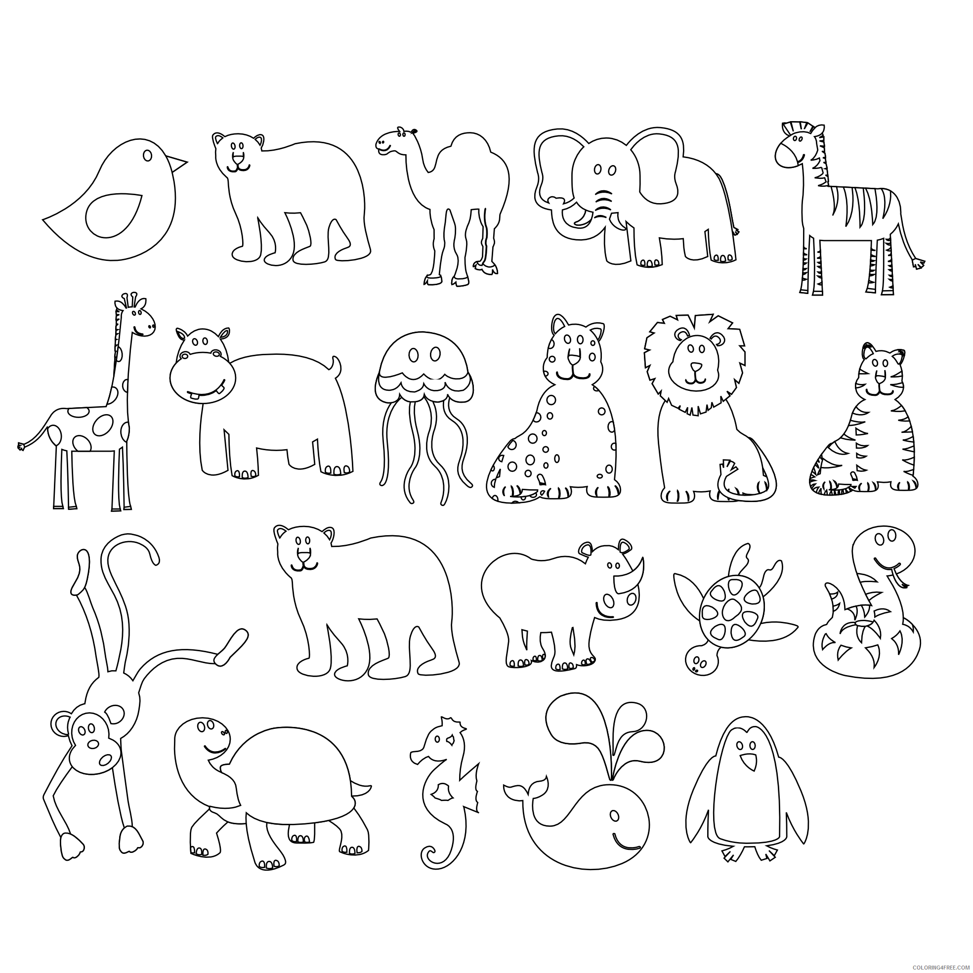 Black and White Animals Coloring Pages colorful animals black white line Printable Coloring4free