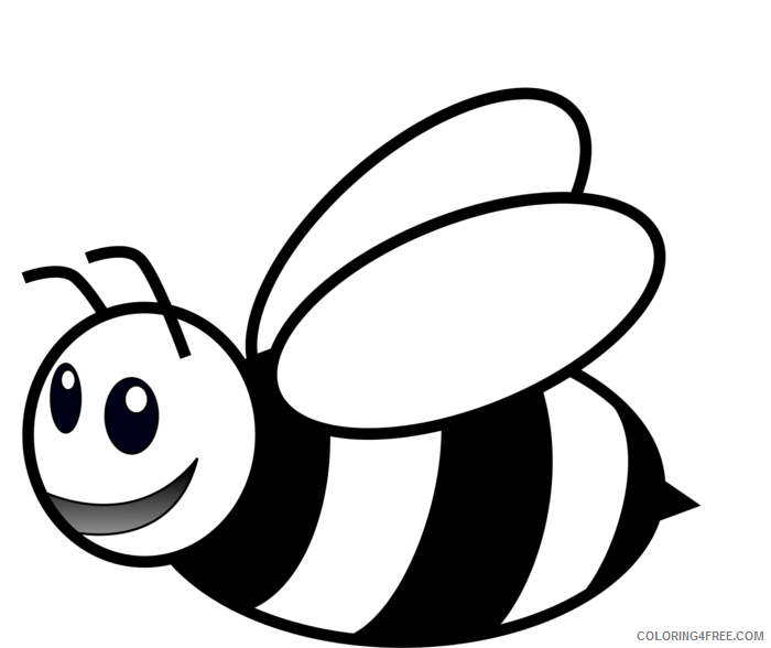 Black and White Bee Coloring Pages bee Printable Coloring4free