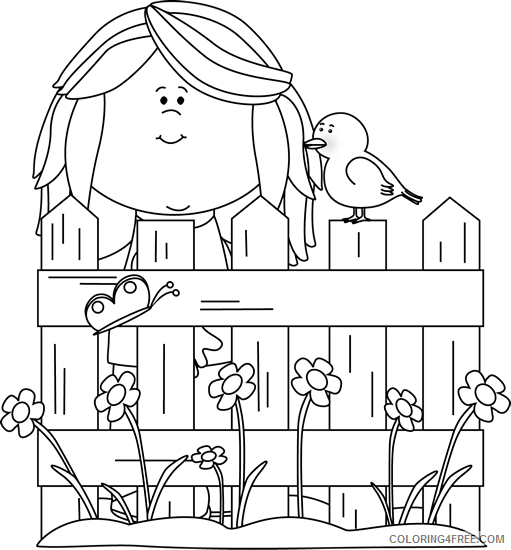 Black and White Bird Coloring Pages spring girl Printable Coloring4free