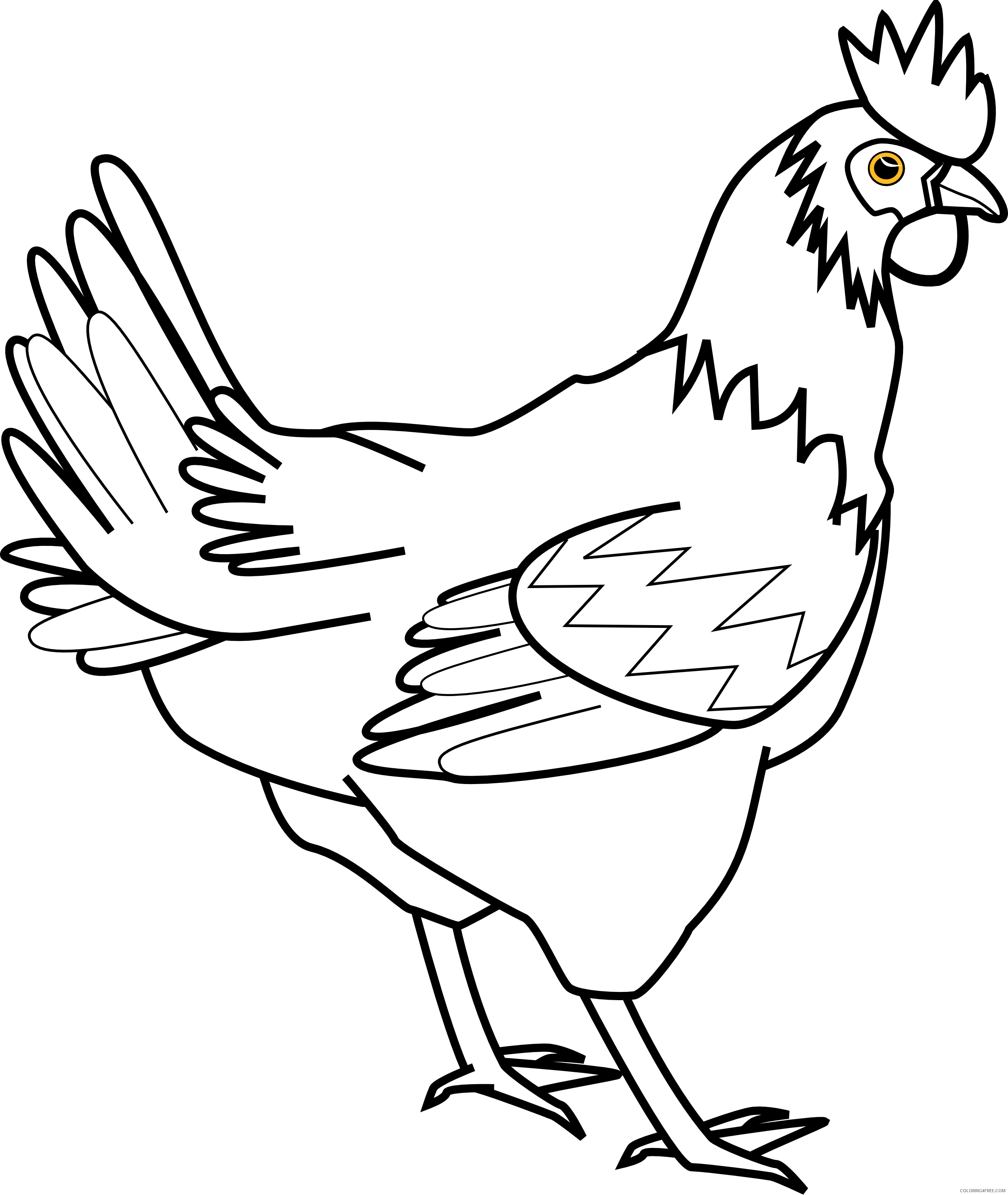 Black and White Chicken Coloring Pages Chicken clipart Printable Coloring4free