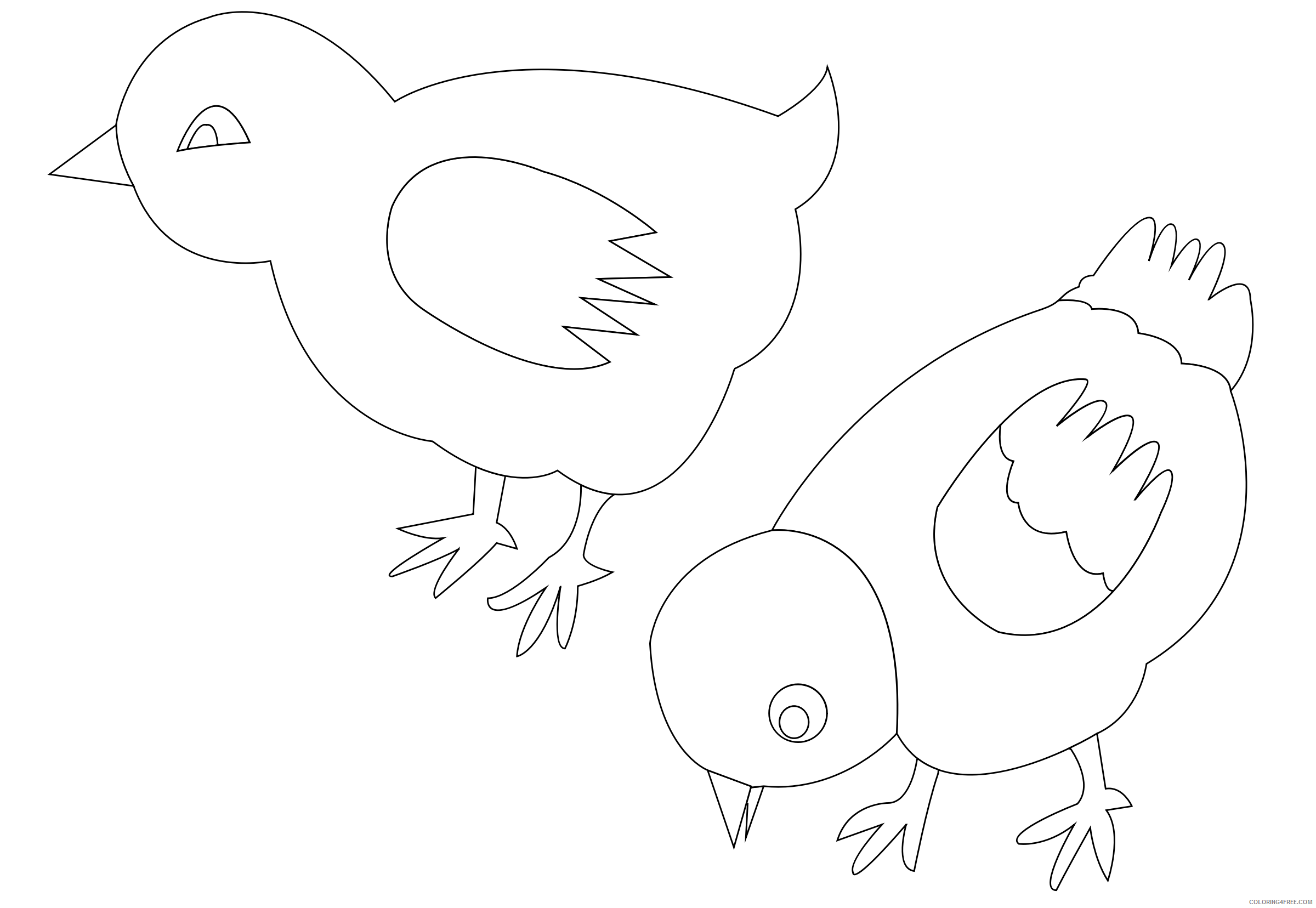 Black and White Chicken Coloring Pages chickens 002 vector Printable Coloring4free