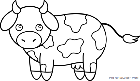 Black And White Cow Coloring Pages Cow Printable Coloring4free Coloring4free Com