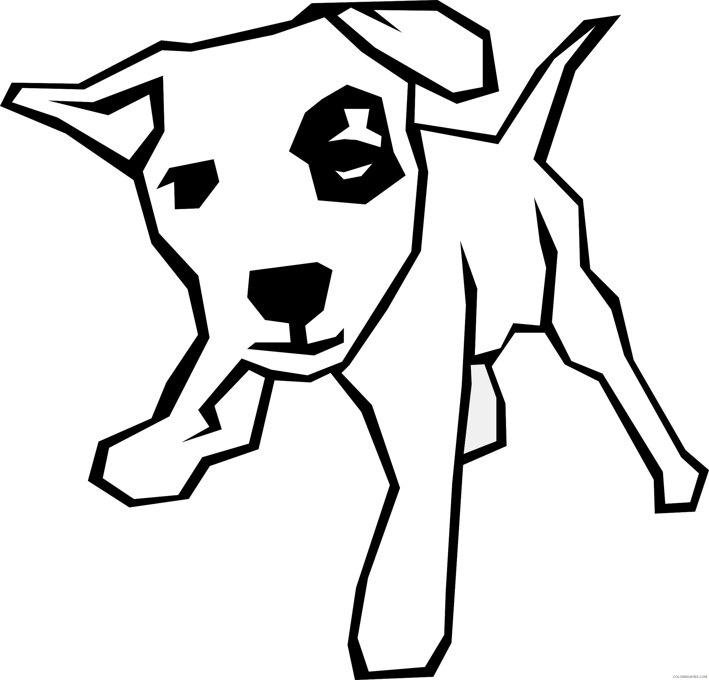 Black and White Dog Coloring Pages gerald g dog simple drawing Printable Coloring4free