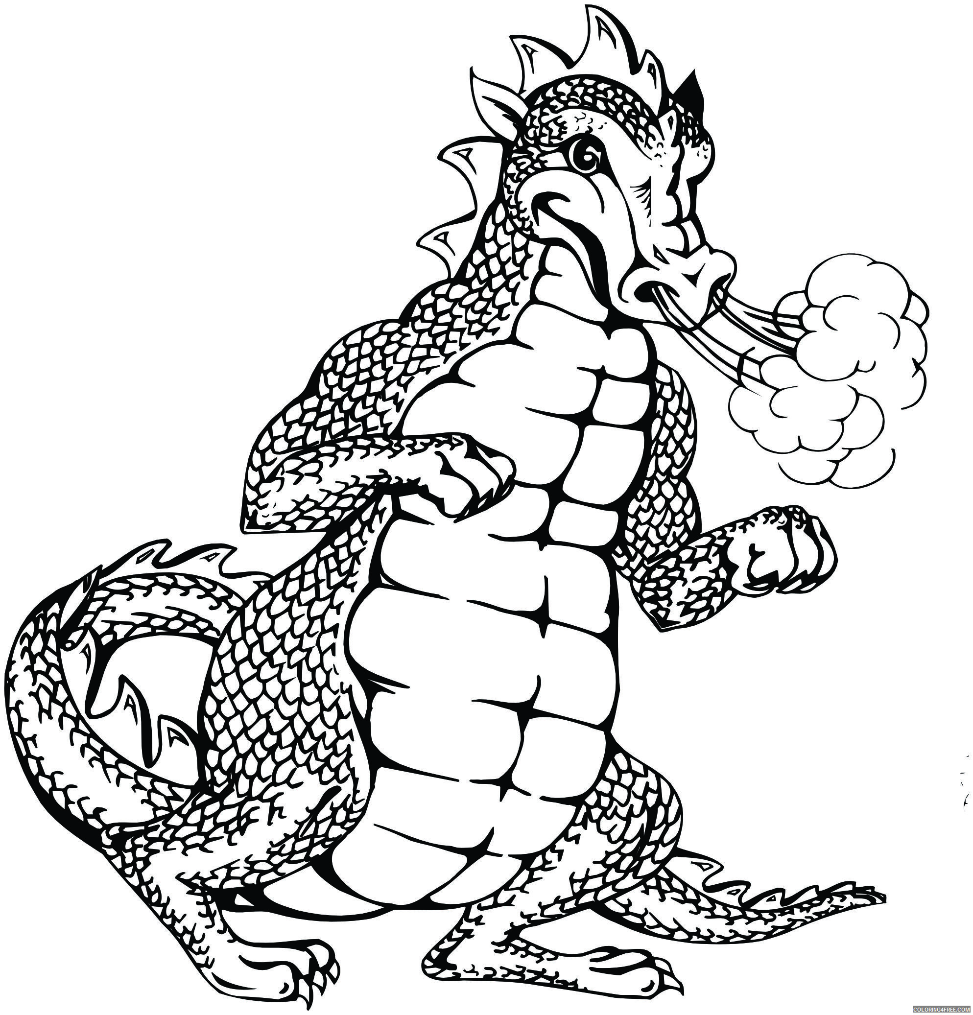Black and White Dragon Coloring Pages cartoon dragon Printable Coloring4free