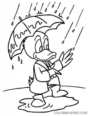 Black and White Duck Coloring Pages animated duck holding umbrella Printable Coloring4free