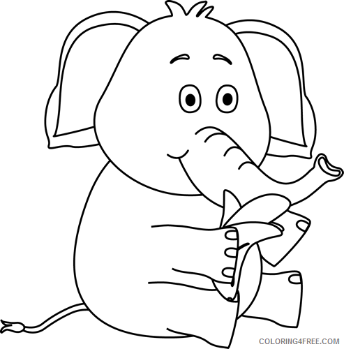 Black and White Elephant Coloring Pages art http Printable Coloring4free