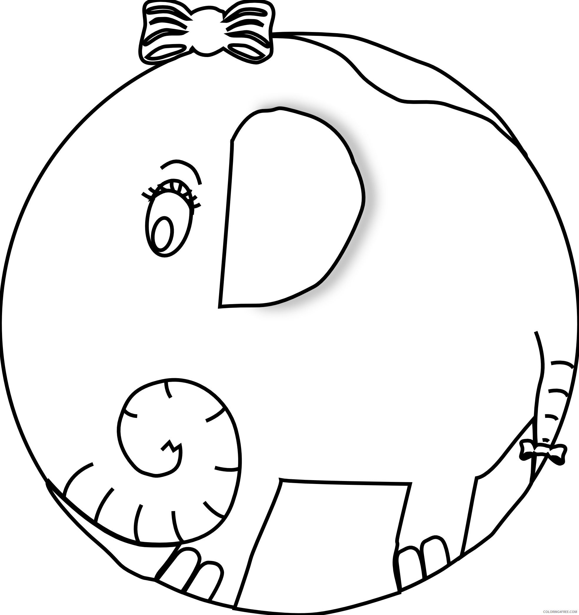 Black and White Elephant Coloring Pages elephant 2 girl black white Printable Coloring4free