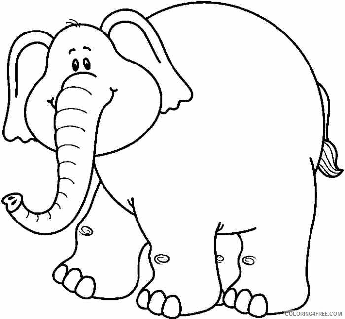 Black and White Elephant Coloring Pages elephant black and Printable Coloring4free