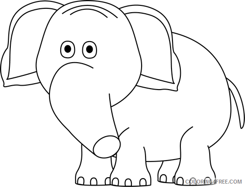 Black and White Elephant Coloring Pages elephant clip Printable Coloring4free