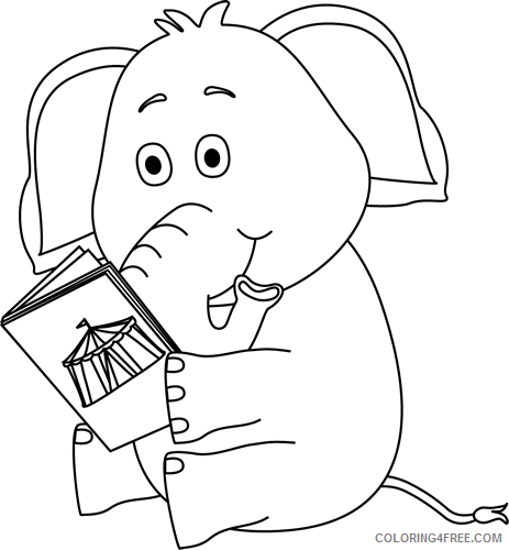 Black and White Elephant Coloring Pages elephant reading Printable Coloring4free