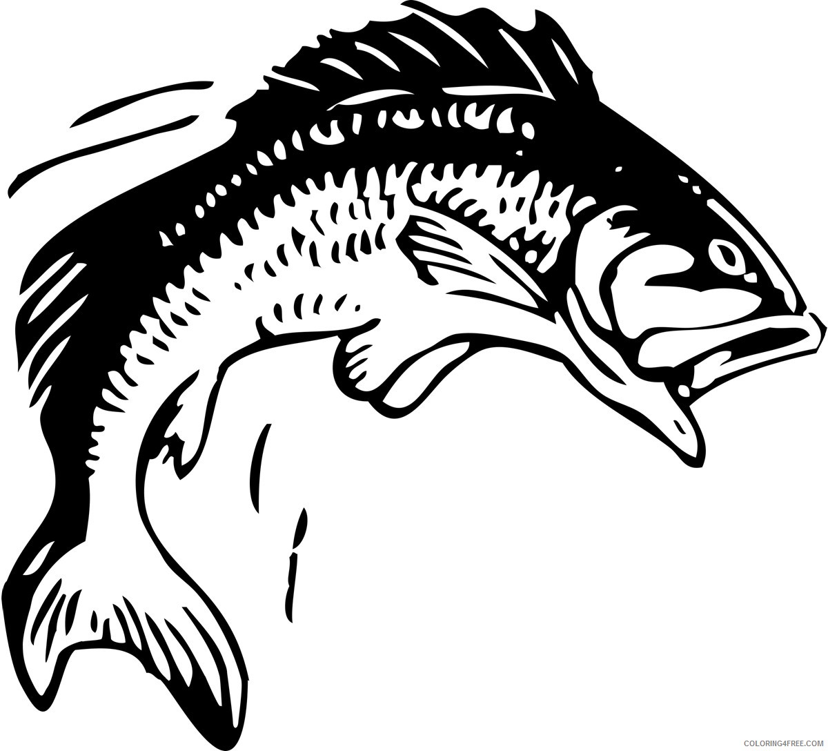 Black and White Fish Coloring Pages fishing on clip art Printable Coloring4free