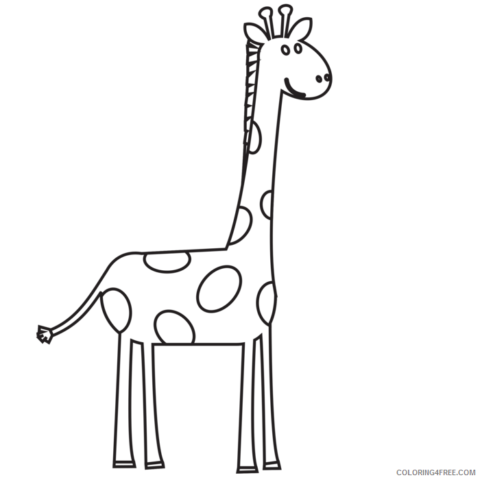 Black and White Giraffe Coloring Pages giraffe head black and Printable Coloring4free