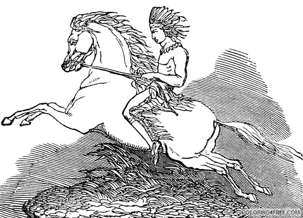 Black and White Horse Coloring Pages american indian indian on Printable Coloring4free