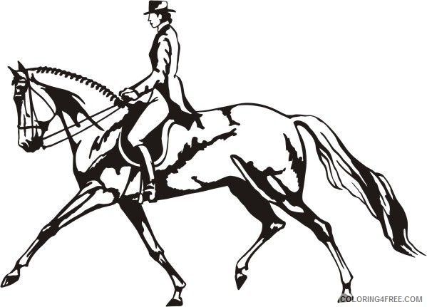 Black and White Horse Coloring Pages dressage horse silhouette clip art Printable Coloring4free