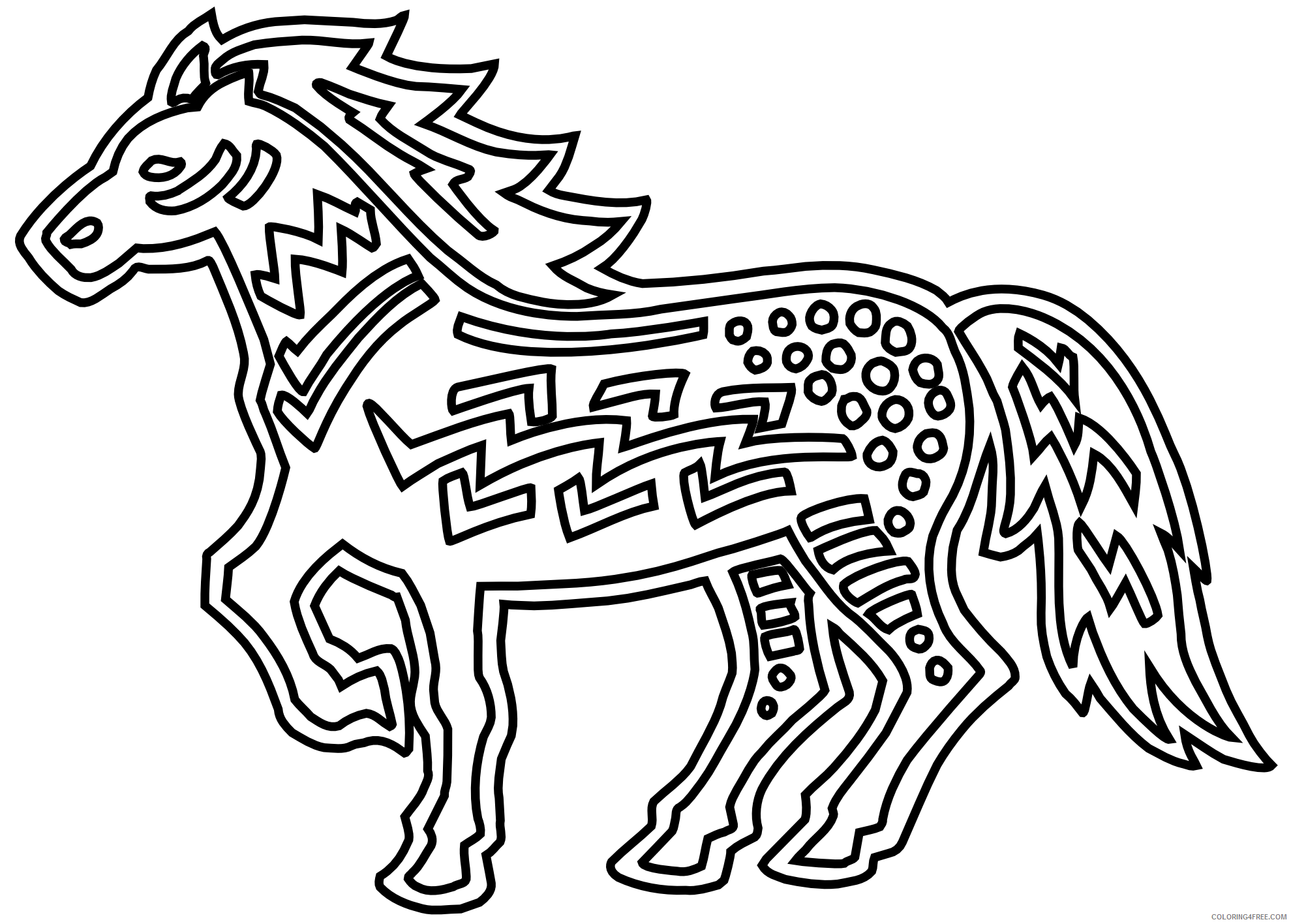 Black and White Horse Coloring Pages figurative horse black white line Printable Coloring4free