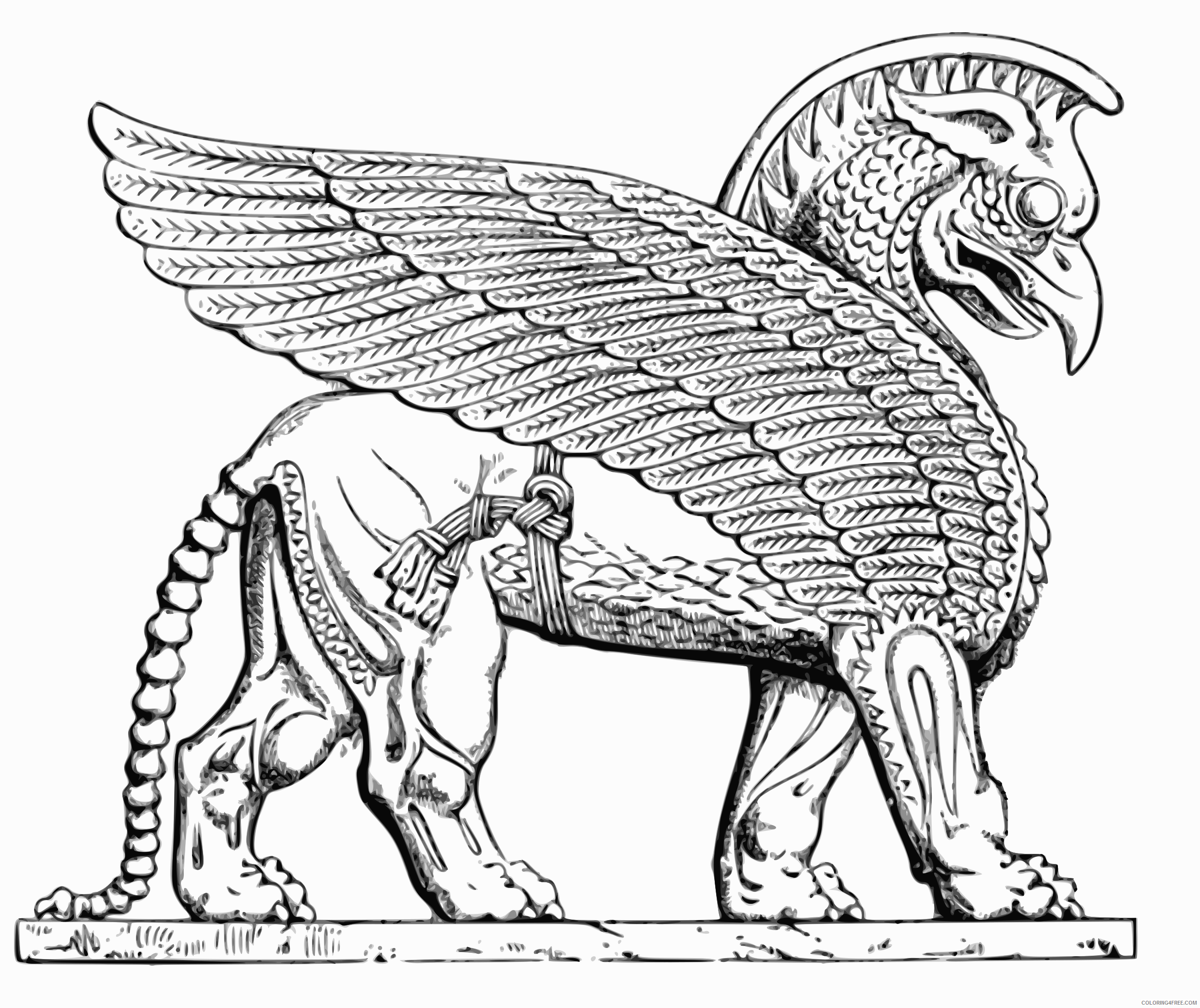 Black and White Lion Coloring Pages assyrian winged lion Printable Coloring4free