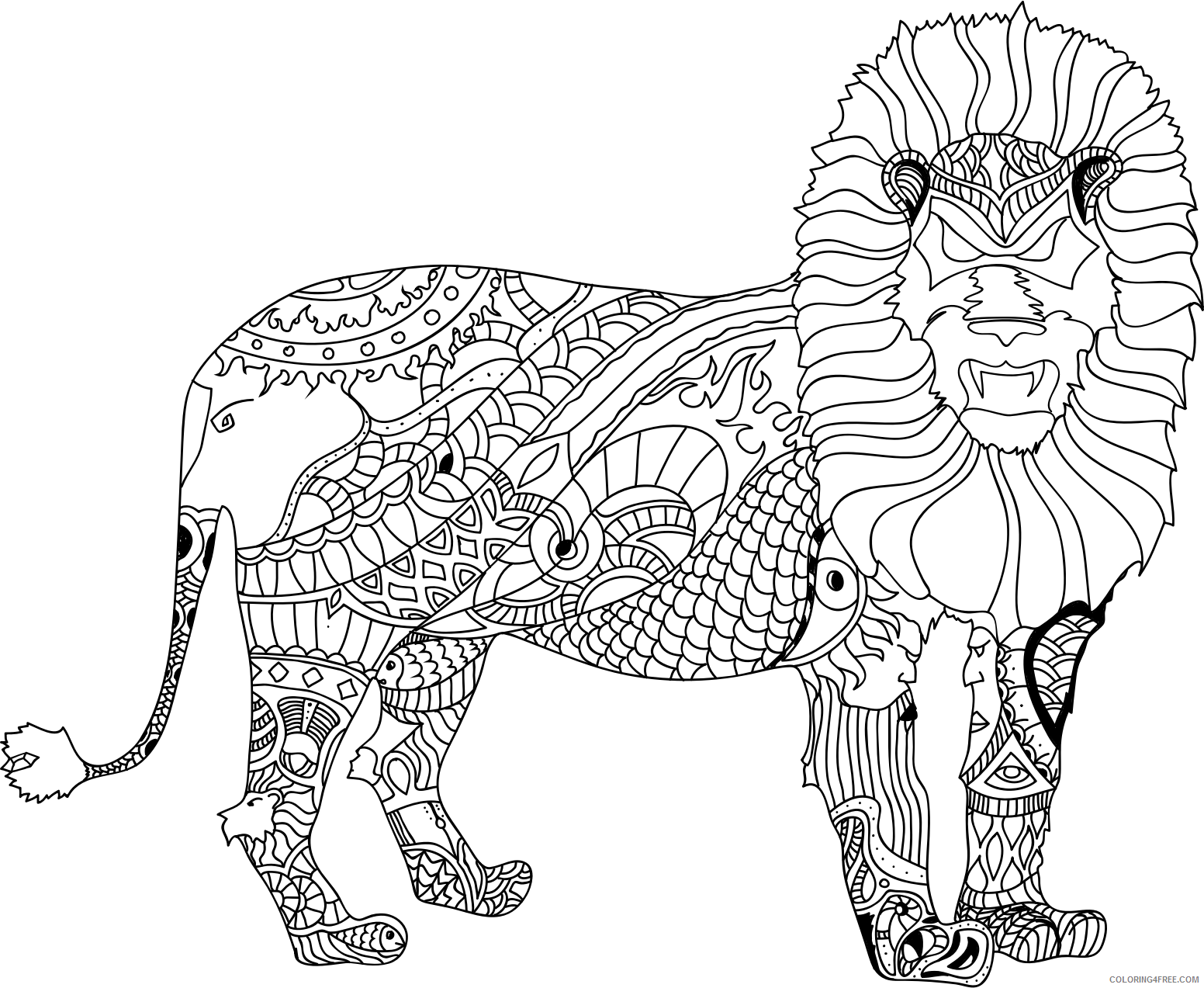 Black and White Lion Coloring Pages fop lion 2 Printable Coloring4free