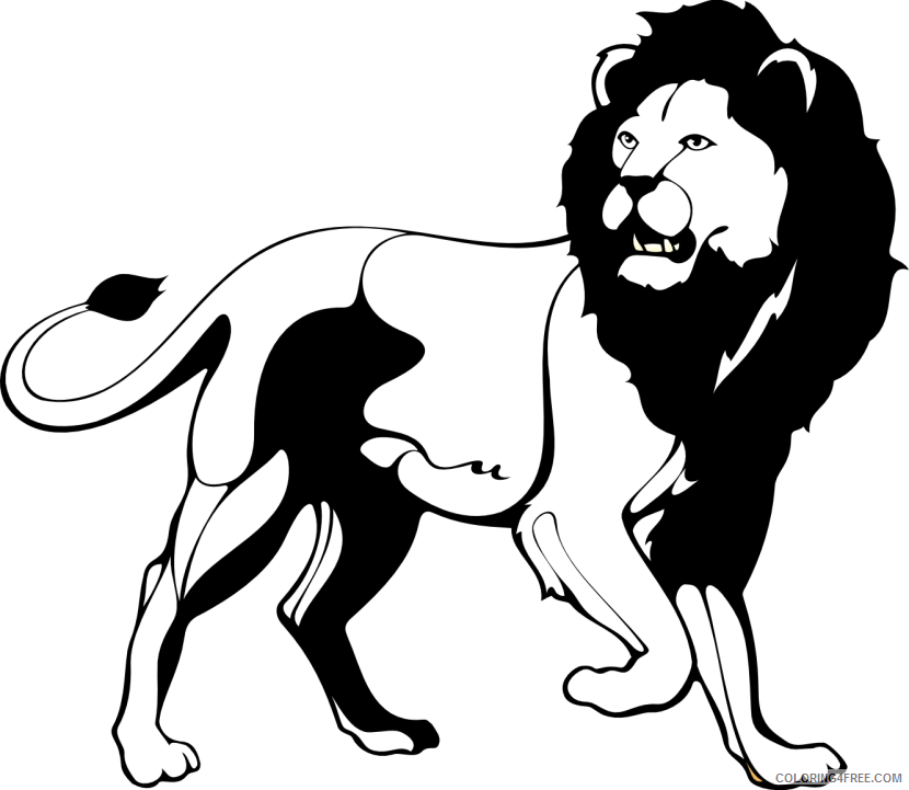 Black and White Lion Coloring Pages lion 82 png Printable Coloring4free
