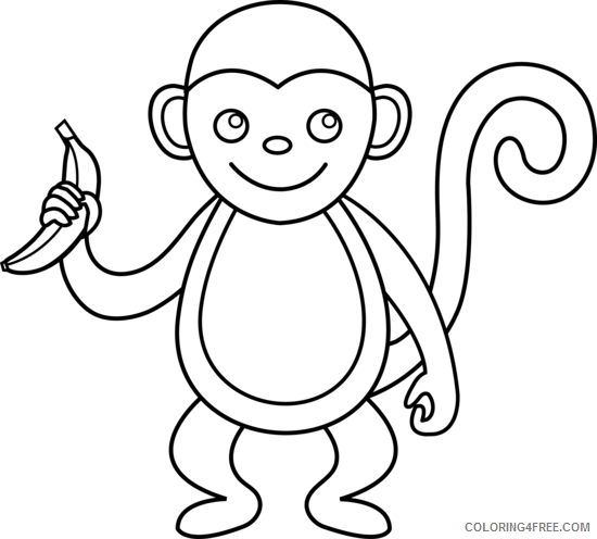 Black and White Monkey Coloring Pages monkey monkey line Printable Coloring4free