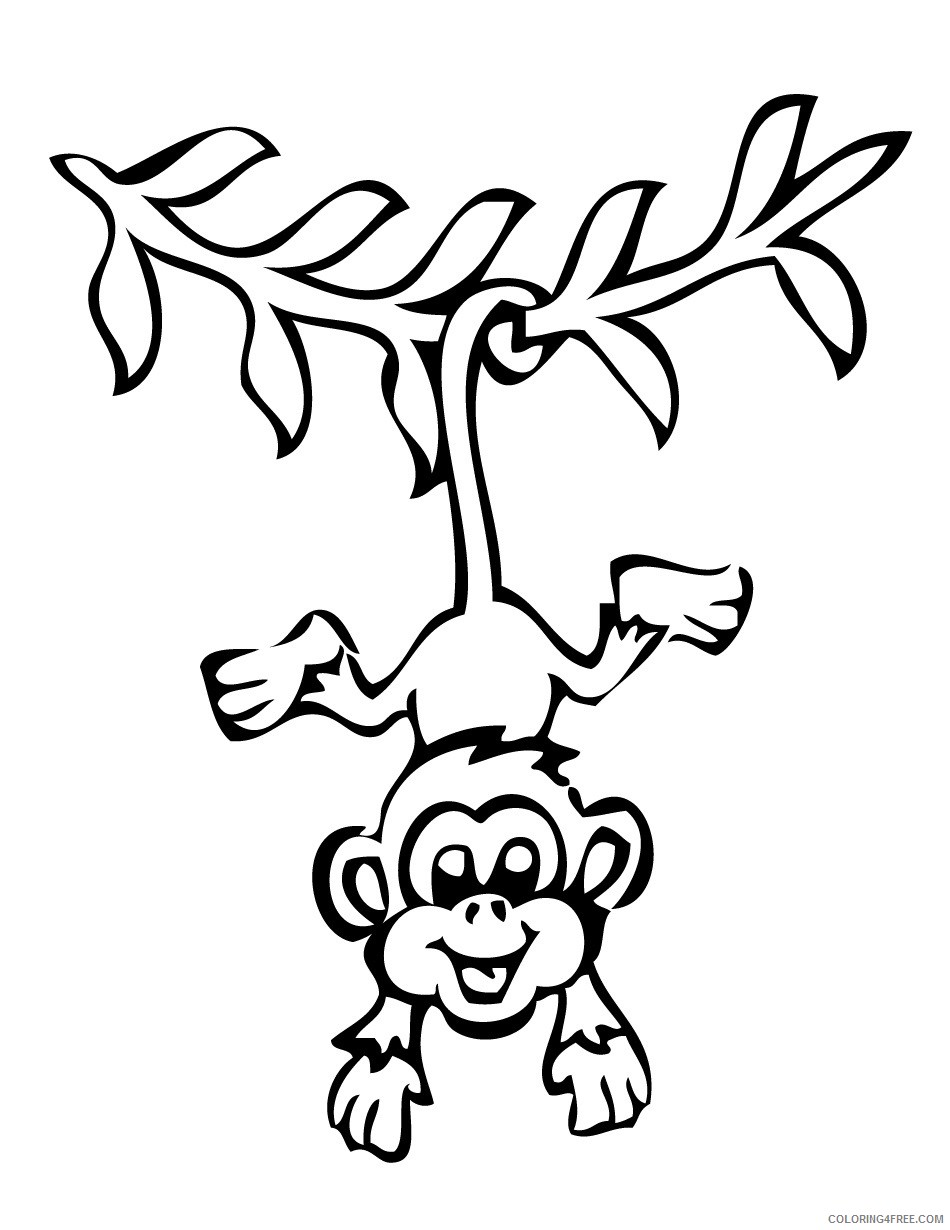 Black and White Monkey Coloring Pages monkeys free monkey pages Printable Coloring4free
