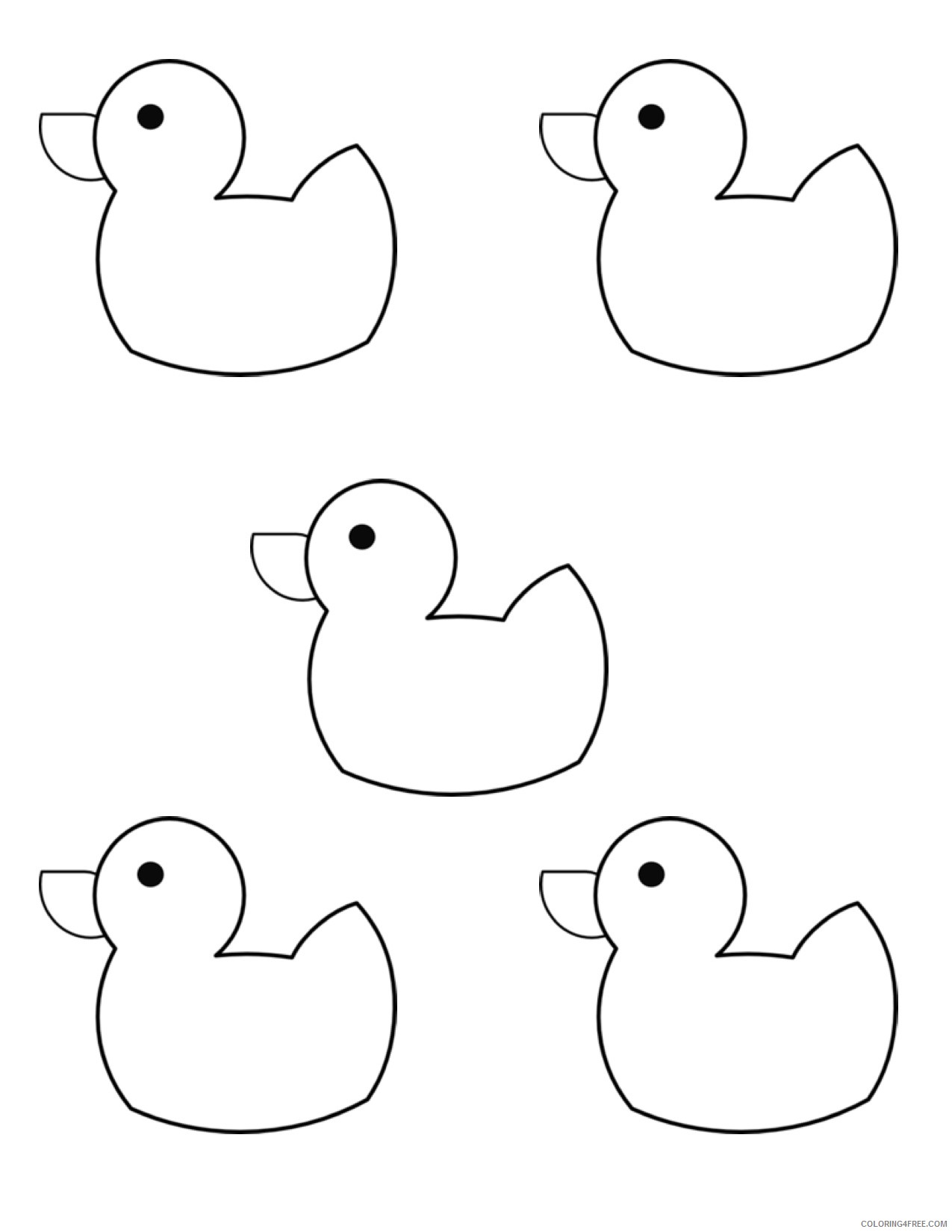 Black and White Rubber Duck Coloring Pages 10 little rubber ducks kindergarten Printable Coloring4free