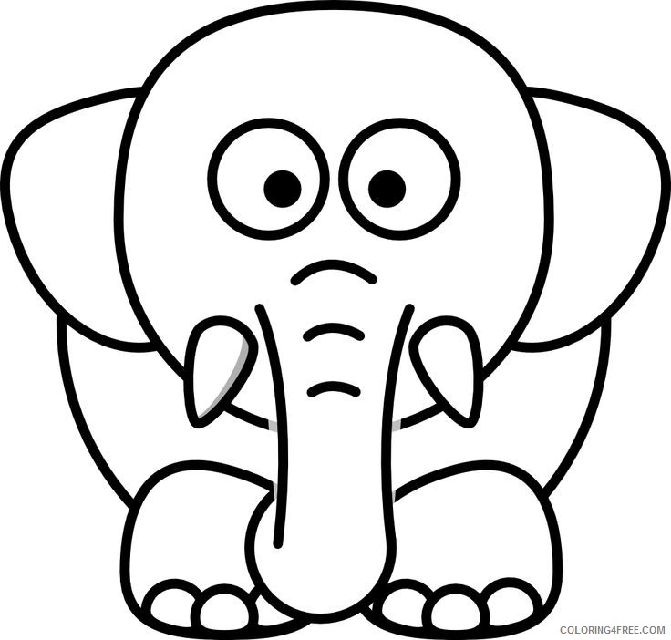 Cartoon Elephant Coloring Pages lemmling cartoon elephant Printable Coloring4free