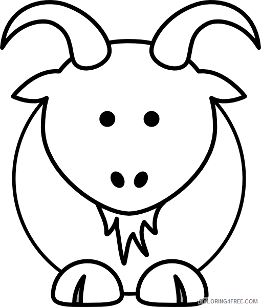 Cartoon Goat Coloring Pages cartoon goat bw clip art Printable Coloring4free