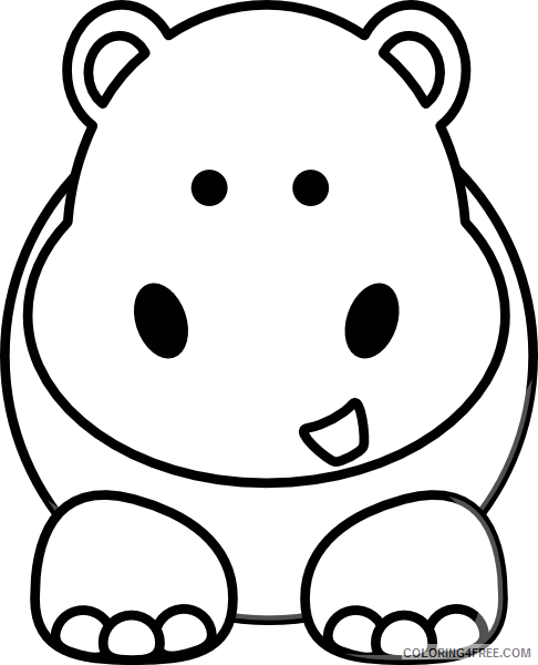 Cartoon Hippo Coloring Pages cartoon hippo at Printable Coloring4free