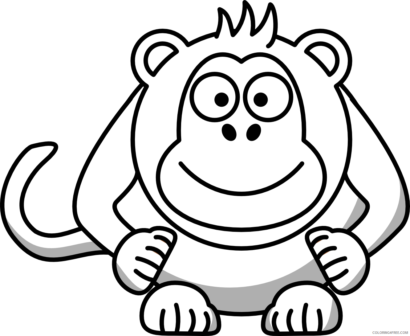 Cartoon Monkey Coloring Pages monkey cute monkeyloring Printable Coloring4free