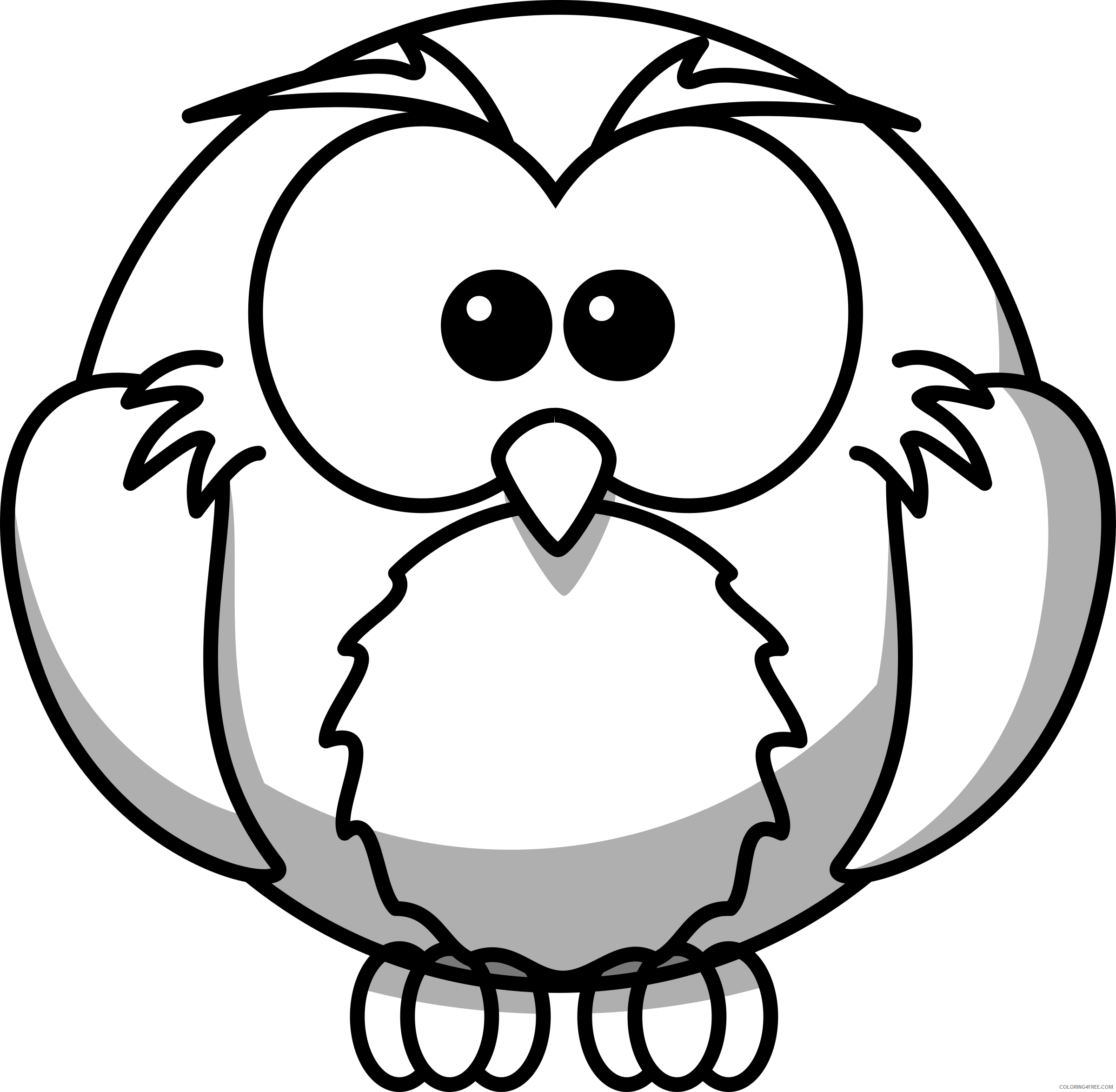 Cartoon Owl Coloring Pages owl line art lemmling cartoon Printable Coloring4free