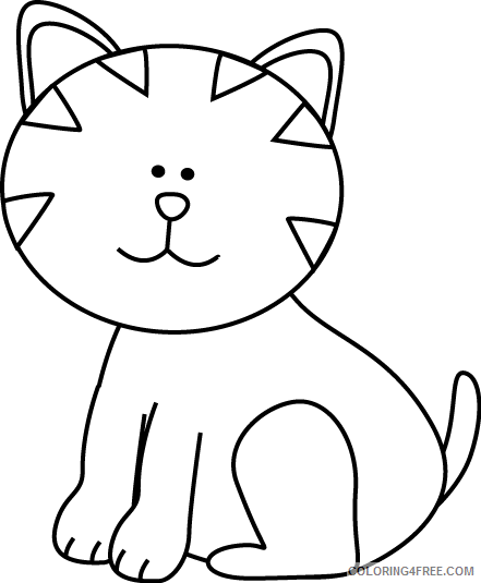 Cat Outline Coloring Pages cat black and Printable Coloring4free