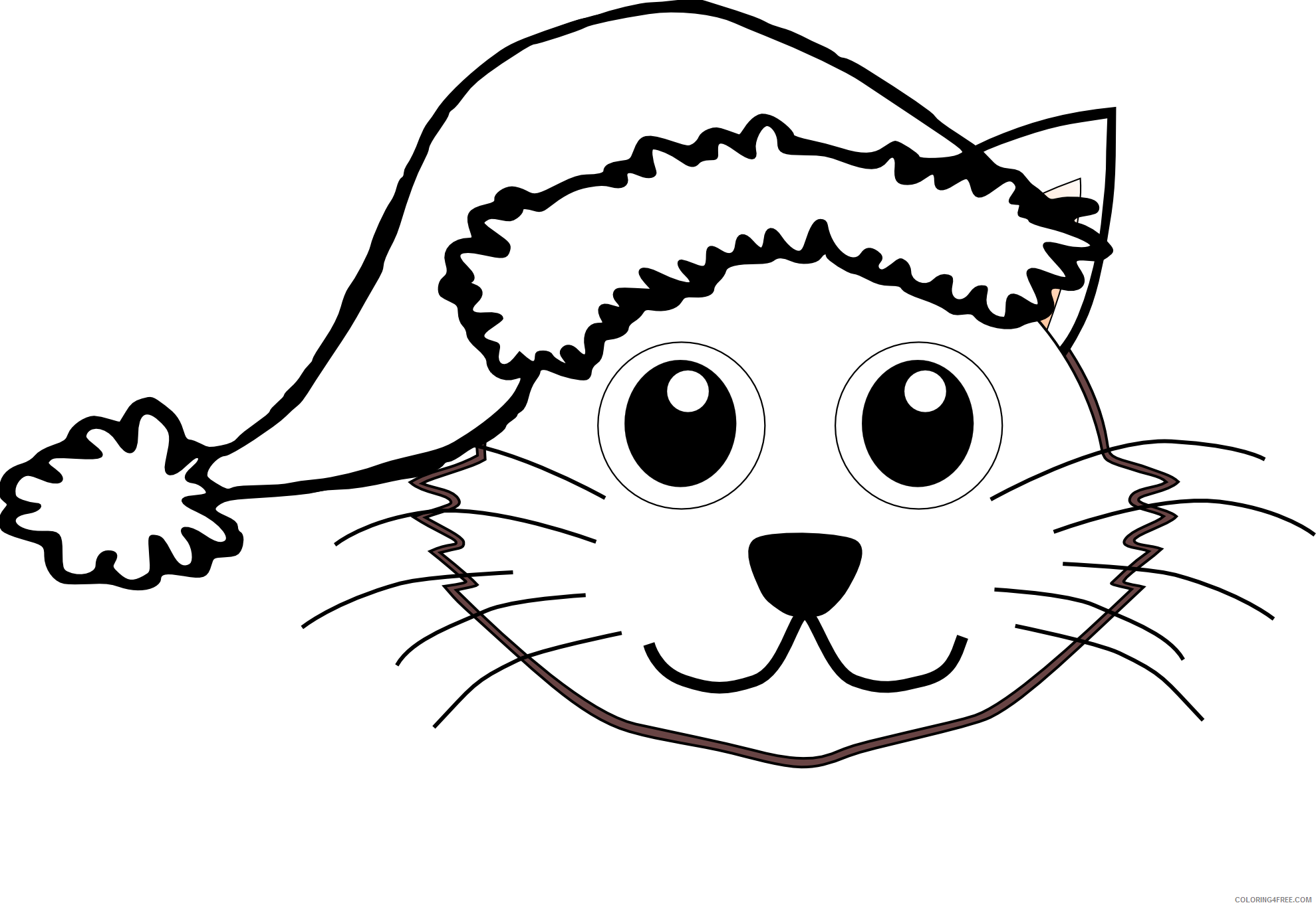 Cat Outline Coloring Pages Clipartist Cat Face Cartoon Santa Printable Coloring4free Coloring4free Com